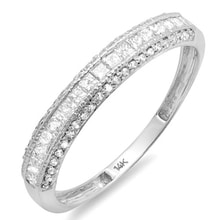 WEDDING RING MADE OF WHITE GOLD WITH MANY DIAMONDS - DIAMOND RINGS - RINGS