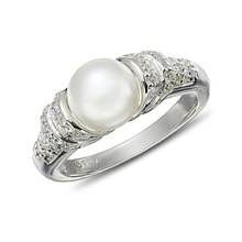 PEARL RING WITH CZ STONES, STERLING SILVER - PEARL RINGS - PEARLS