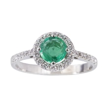 ENGAGEMENT EMERALD RING MADE OF WHITE GOLD - HALO ENGAGEMENT RINGS - ENGAGEMENT RINGS WITH GEMSTONES