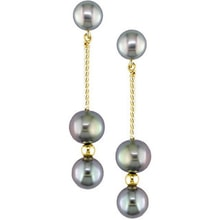 GOLDEN PENDANT EARRINGS WITH BLACK PEARLS - PEARL EARRINGS - PEARLS