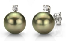 EARRINGS TAHITIAN PEARLS AND DIAMONDS - TAHITIAN PEARLS - PEARLS
