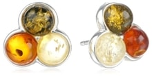 Colourful amber earrings in silver - Fine Jewellery
