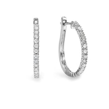 Diamond hoop earrings in 14kt gold - Diamond Earrings