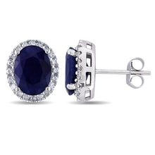 SAPPHIRE EARRINGS IN WHITE GOLD WITH 40 DIAMONDS - SAPPHIRE EARRINGS - EARRINGS