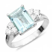 RING OF WHITE GOLD WITH AQUAMARINE AND DIAMONDS - AQUAMARINE RINGS - RINGS