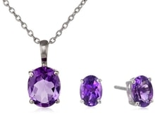 SILVER SET AMETHYST JEWELRY - EARRING SETS - EARRINGS