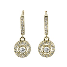 PENDANT AQUAMARINE AND DIAMONDS - GOLD EARRINGS - EARRINGS