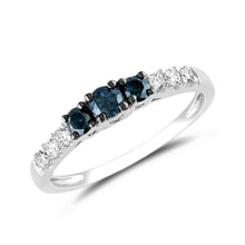 White gold ring with blue and white diamonds - Diamond Rings