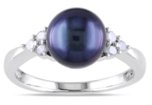 SILVER RING WITH BLACK PEARL AND DIAMONDS - PEARL RINGS - PEARLS