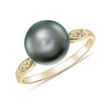 Tahitian pearl and diamond ring in 14kt gold - Tahitian Pearls Jewellery