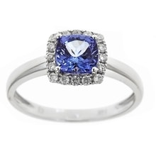 GOLD TANZANITE AND DIAMOND RING - HALO ENGAGEMENT RINGS - ENGAGEMENT RINGS WITH GEMSTONES