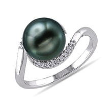 Tahitian pearl diamond ring in sterling silver - Tahitian Pearls Jewellery