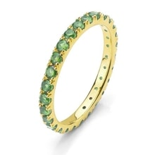 RING WITH EMERALDS, 14K YELLOW GOLD - EMERALD RINGS - RINGS