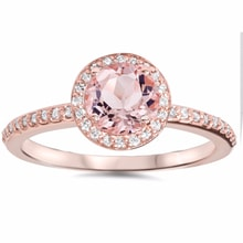GOLD RING WITH MORGANITE - HALO ENGAGEMENT RINGS - ENGAGEMENT RINGS WITH GEMSTONES