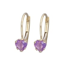 GOLD EARRINGS WITH AMETHYSTS - AMETHYST EARRINGS - EARRINGS