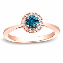GOLD RING WITH DIAMONDS BLUE AND WHITE COLORS - HALO ENGAGEMENT RINGS - ENGAGEMENT RINGS WITH GEMSTONES