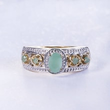 GOLD PLATED EMERALD RING - JEWELLERY SALE