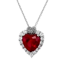 SILVER PENDANT HEART WITH A SYNTHETIC SAPPHIRE - RUBY PENDANTS - PENDANTS