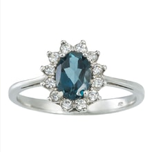 SILVER RING WITH TOPAZ AND CZ - STERLING SILVER RINGS - RINGS