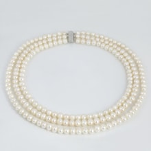 TRIPLEX PEARL NECKLACE, WHITE GOLD - PEARL NECKLACE - PEARLS