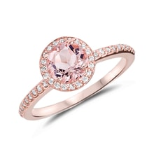 GOLD RING WITH MORGANITE - HALO ENGAGEMENT RINGS - ENGAGEMENT RINGS