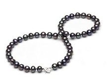 BLACK PEARLS NECKLACE - PEARL NECKLACE - PEARLS