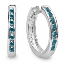 SILVER HOOP EARRINGS WITH BLUE DIAMONDS - DIAMOND EARRINGS - EARRINGS