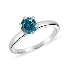 White gold ring with blue diamond - Fancy Diamond Engagement Rings