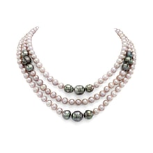 Necklace of Freshwater and Tahitian pearls - Pearl necklace