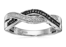RING WITH BLACK AND WHITE DIAMONDS - JEWELLERY SALE