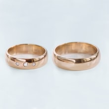 Rose gold wedding rings with diamonds - Rose gold wedding Rings