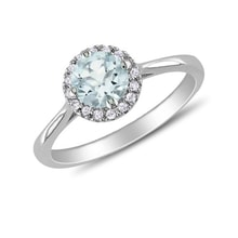RADIANT STERLING SILVER RING WITH AQUAMARINE AND DIAMONDS - HALO ENGAGEMENT RINGS - ENGAGEMENT RINGS