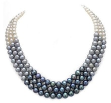 TRI-COLOR PEARL NECKLACE - PEARL NECKLACE - PEARLS