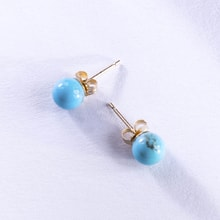 GOLD EARRINGS WITH AMETHYSTS AND DIAMONDS - TURQUOISE EARRINGS - EARRINGS
