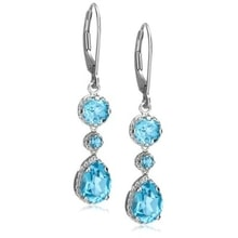 WHITE GOLD EARRINGS WITH TOPAZ - TOPAZ EARRINGS - EARRINGS
