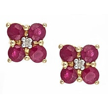 RUBY EARRINGS WITH DIAMONDS - RUBY EARRINGS - EARRINGS
