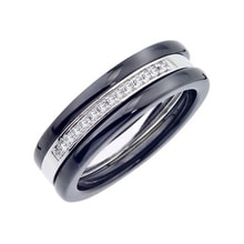 Silver and ceramic triple-ring set - Fine Jewellery