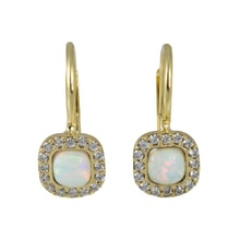 GOLD EARRINGS WITH SYNTHETIC OPALS AND CZ - GOLD EARRINGS - EARRINGS