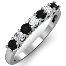 RING WITH WHITE AND BLACK DIAMONDS - DIAMOND RINGS - RINGS
