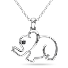 SILVER ELEPHANT WITH BLACK DIAMOND - JEWELLERY BY GEMSTONE