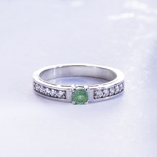 STERLING SILVER RING WITH CZ STONES AND EMERALD - STERLING SILVER RINGS - RINGS