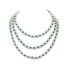 Pearl necklace with emeralds - Pearl necklace