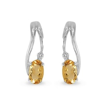 Earrings made of white gold, citrine and diamond - White gold earrings