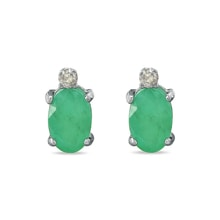 Gold earrings with emeralds and diamonds - Emerald earrings
