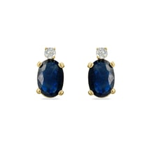 Sapphire and diamond 14kt gold earrings - Sapphire Earrings