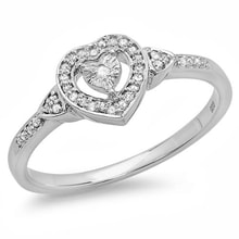 Hearts diamond ring in sterling silver - Diamond rings