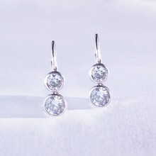 SILVER EARRINGS WITH CUBIC ZIRCONIA STONES - CUBIC ZIRCONIA EARRINGS - EARRINGS