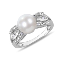 Miadora diamond and pearl ring in silver - Pearl Rings