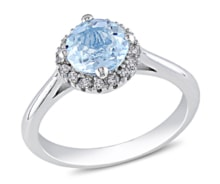 SILVER RING WITH TOPAZ AND DIAMONDS - HALO ENGAGEMENT RINGS - ENGAGEMENT RINGS WITH GEMSTONES