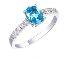 SILVER RING WITH BLUE TOPAZ - TOPAZ RINGS - RINGS